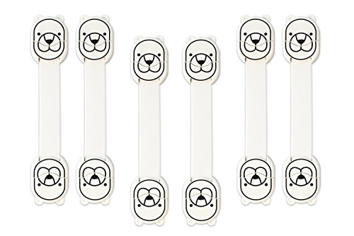 KINDERSICHERUNG zum KINDERSCHUTZ: Schranksicherung, Schubladensicherung, Sicherung für Kühlschrank und WC - für Baby und Klein-Kinder, ohne Bohren, zum Kleben, Weiß, 6er - Pack (Zweck Box Truhe)