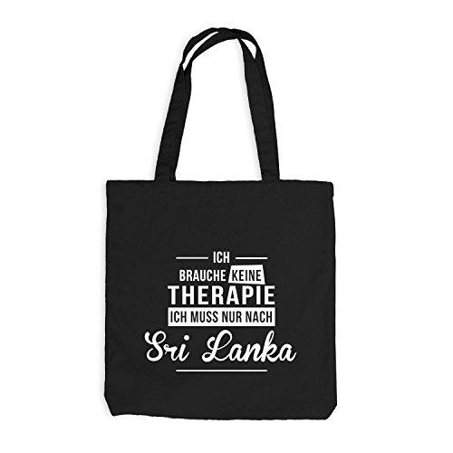 Jutebeutel - Ich Brauche Keine Therapie Sri Lanka - Therapy Urlaub Afrika Schwarz