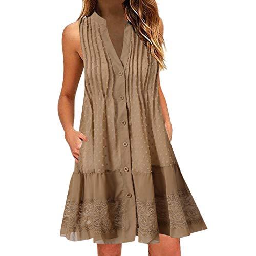 - Knopf-manschette-button-down-hemd (FeiBeauty Kleider Damen Sommer Boho V-Ausschnitt ärmelloses Minikleid Spitzen-Patchwork Strandkleid Mit Knopf Weiß, Blau, Pink, Khaki S-3XL)