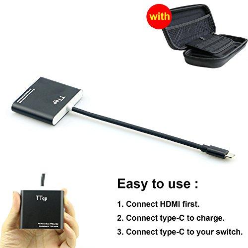 TTqp.tech HDMI Typ C Adapter für Nintendo Switch, HDMI Konverter Kabel für Nintendo Switch + Carring Tasche für Nintendo Switch
