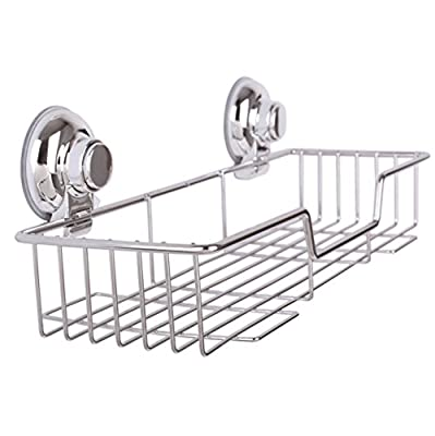 SANN Strong Suction Rustproof Bathroom Shower Caddy Shelf Kitchen Storage Basket 38 x 14 x 6cm