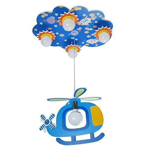Kinder LED Flugzeugdeckenleuchte, E27, Modern, Holz Cartoon-Augen-Leuchter-Boy Schlafzimmer Paradies-Beleuchtungskörper - Messing Schwarz Schatten Leuchter
