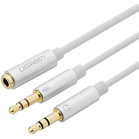 Ugreen Cable de Divisor de 2 Clavijas de Auricular/ Micrófono Separadas 3.5mm Macho a Mic y Audio 3.5mm Hembra para Auriculares, Cáscara de Aluminio, Chapado en Oro