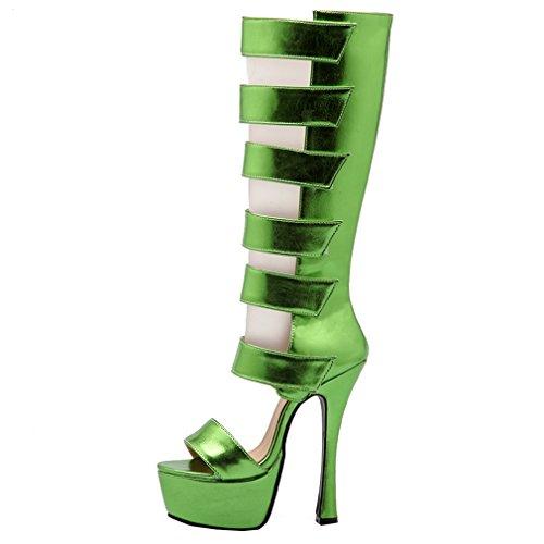 ENMAYER Femmes PU Matériel Gladiator Sexy Plate-forme Ouverte Talon Stiletto Super High Heels Party Shoes Vert