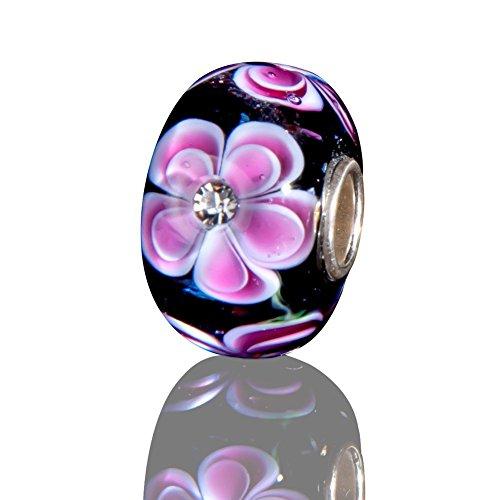 Andante-Stones 925 Sterling Silber Glas Bead Charm SEALIFE (Violettblau mit rosa Blumen und Zirkonia) Element Kugel für European Beads + Organzasäckchen (Charme Für Das Ipad)