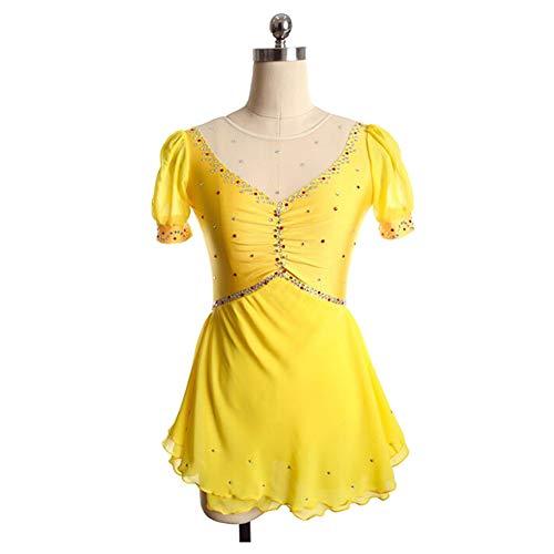 XIAOY Eislaufen Wettbewerb Professional ärmellos Kostüm Rollschuhkleid Eiskunstlauf Kleid für Mädchen,Yellow,XS