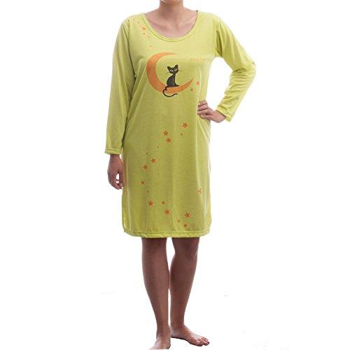 Romesa bigshirt manches longues manches longues pour chat motif lune et étoiles Jaune - Jaune