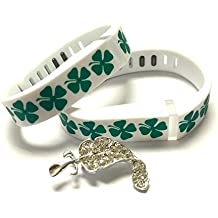 BSI SET 1 LARGE & 1 SMALL SIZE CLOVER BANDS & 2PCS METAL CLASPS FOR FITBIT FLEX BAND NEW ST. PATRICK'S DAY SHAMROCK SHAMROCKS IRISH WHITE WITH GREEN LEAF LUCK LUCKY COLOR REPLACEMENT BRACELET WRISTBAND (NO TRACKER) + Nice Crystals Feather Brooch