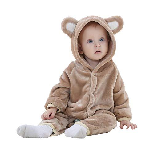 Unisex Pyjama Tier Strampler Kostüme Flanell Bekleidung Jumpsuit Schlafanzug Overall Baby Spielanzug (Bear Brown,70cm) (Brown Bear Pyjama Kostüm)