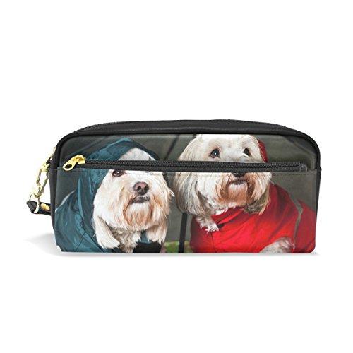bennigiry dressed up perros bajo paraguas School Bolsa de lápiz para los niños, niños gran capacidad Pen Holder Durable papelería bolsa bolsa