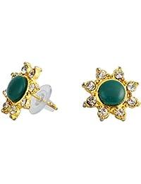 Touchstone Green & Golden Stud Earrings For Women