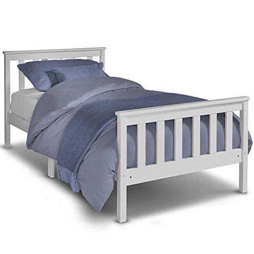 Lit simple en pin VonHaus -cadre de lit en bois blanc de 90 cm avec sommier en lattes - parfait pour les étudiants et les enfants - tête et pied de lit inclus