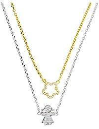 Bohala joyería - Gargantilla en plata de ley 925 con baño en oro y zirconitas, con cierre mosquetón - modelo flor & niña