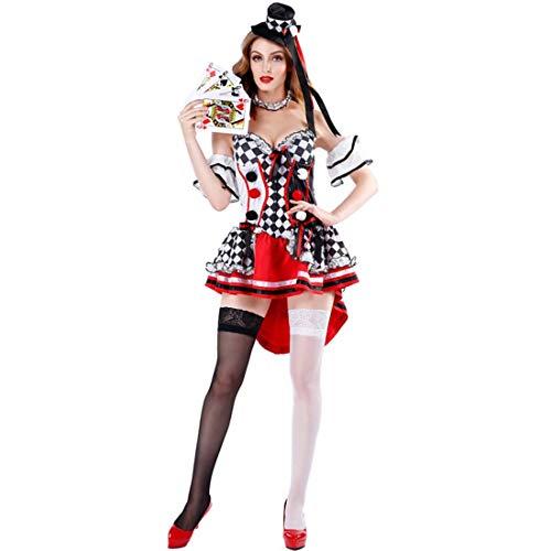 Königin Für Kostüm Kids Der Herzen - KLAWQ Halloween Kostüm - Königin der Herzen Kostüm Alice Fantasy Wonderland Poker Girl Adult Clown Smoking Kleid für Party und Maskerade-XL