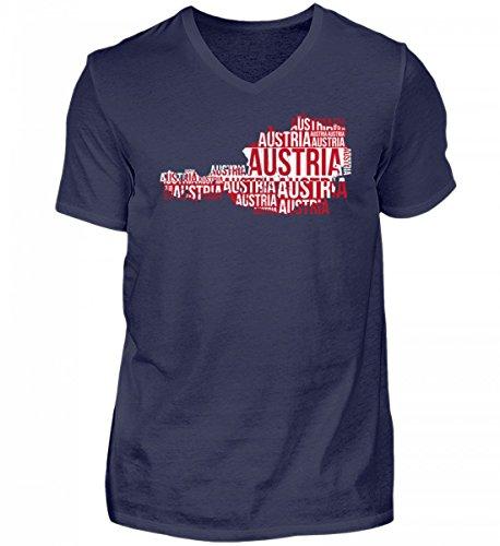 Hochwertiges Herren V-Neck Shirt - Austria Österreich Ländershirt Landkarte Fussball Soccer Flagge Trikot Geschenk