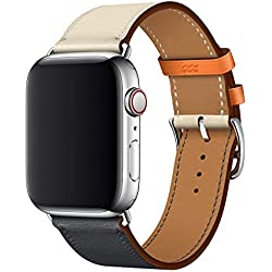 XCool Compatible Bracelet Watch 42mm 44mm Cuir Orange Bleu Bande de Remplacement pour iwatch Series 4 3 2 1