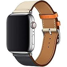 72baa8d92ce XCool Compatible Bracelet Watch 42mm 44mm Cuir Orange Bleu Bande de  Remplacement pour iwatch Series 4
