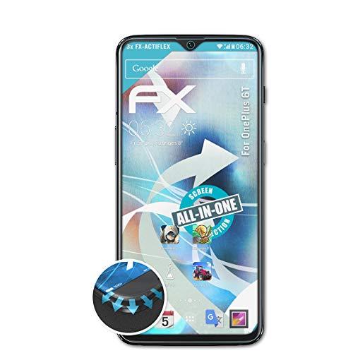 atFolix Schutzfolie passend für OnePlus 6T Folie, ultraklare & Flexible FX Bildschirmschutzfolie (3X)