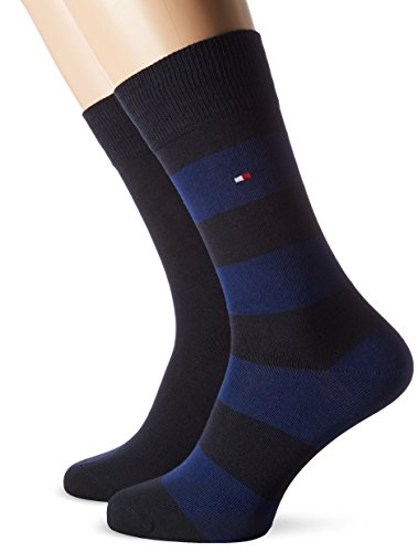 TOMMY HILFIGER Herren TH Men Rugby 2P Socken, Blau (Tommy Blue 054), 43/46 (2er Pack)