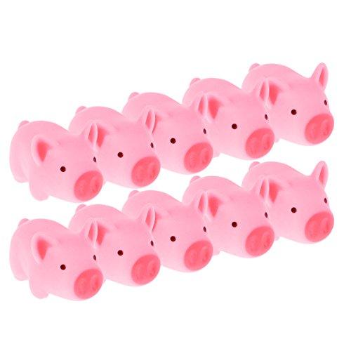 d Schwein Quietschende Gummi Tiere für Babyschwimmen Spielzeug 10 Stück ()