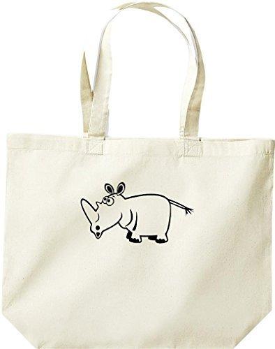 grande borsa della spesa, SHOPPER FUNNY ANIMALE Rhino Naturale