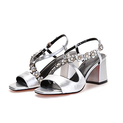 Sommer Damen Mode Sandalen komfortable High Heels, 37 purple High Heels 12 CM Silver