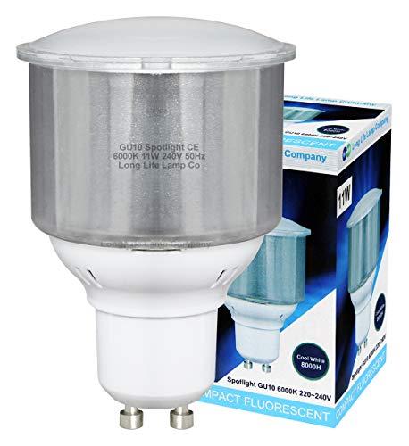 6 x 11w GU10 ENERGY SAVING LIGHT BULBS CFL Cool White
