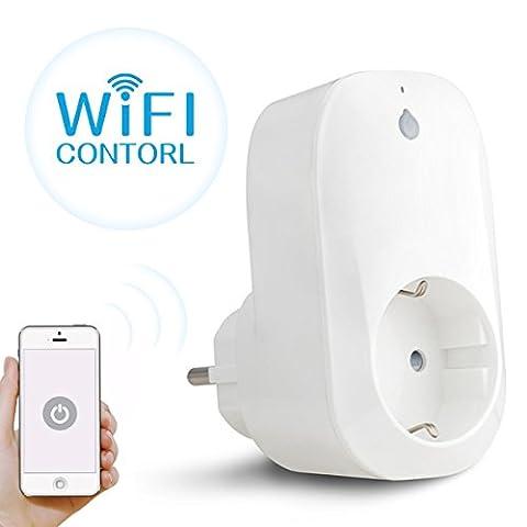 Prise WiFi Domotique, M.Way Prise de Courant Intelligente Socket Télécommande Surveiller Consommation Switch Interrupteur Mise en Veille Programmable 2.4GHz avec Minuteur pour Apple iPhone iPad Tablette et Smartphones (IOS, Android)