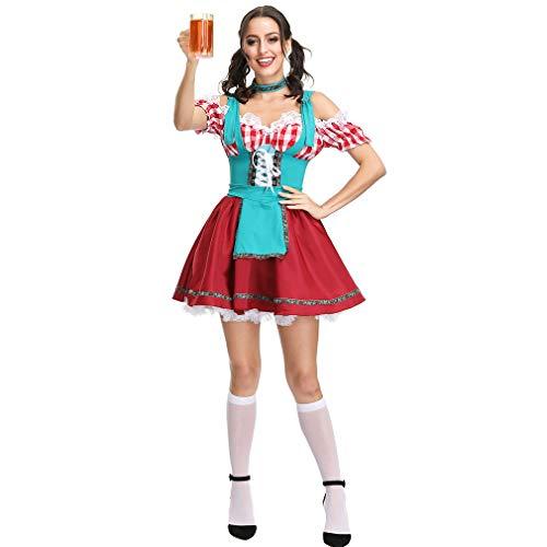 Dress Fancy Bing Kostüm - Midi Traditional Dress, Halloween Deutsches Bier Fancy Sexy Party Cocktailkleid National Style Für Damen,A,XL