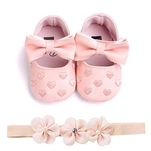 EDOTON Baby Mädchen 2 Pcs Kleinkind Party Schuhe Mit Stirnband, A - Rosa, Gr.- 12-15 Monate/Herstellergröße- 5 (Größentabelle Kleinkind-schuhe)