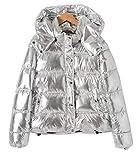 Frauen-Winter-lange Hülsen-mit Kapuze Reißverschluss-Glanz-Silber-metallische verdickte Jacken Outwear Daunenmantel