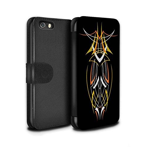 Stuff4 Coque/Etui/Housse Cuir PU Case/Cover pour Apple iPhone 5/5S / Bleu/Jaune Design / Tribal Fines Rayures Collection Jaune/Orange