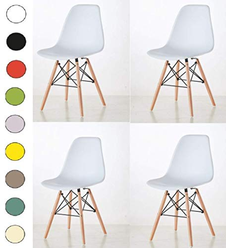 Millhouse Eiffel Chairs Retro Side Dining Office Lounge Chair (White, 4)