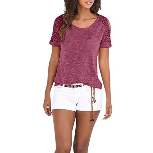 iHENGH Damen Top Bluse Lässig Mode T-Shirt Frühling Sommer Bequem Blusen Frauen Womens Bohemian Kurzarm O Hals Spitze Patchwork Tops T-Shirt Top Bluse(Rot, M)