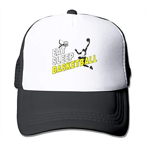 Abigails Home Essen Sie Schlaf Basketball-2 justierbare Baseballmütze Hip-Hop-Hut-Mann-Sport-Kappen-Schwarzes (Womens Waterproof Winter Hüte)