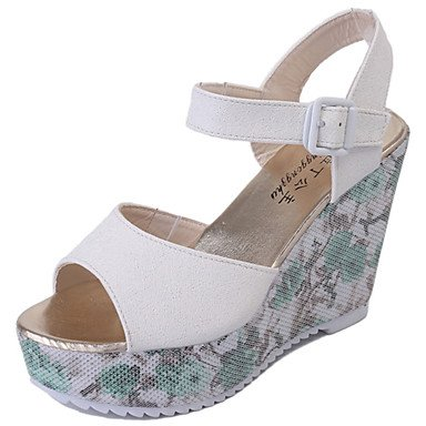 Zormey Damen Sandalen Frühling Sommer Club Schuhe Pu-Dress Casual Keilabsatz Schnalle Mandel Rot Pink Blau Weiß US8 / EU39 / UK6 / CN39