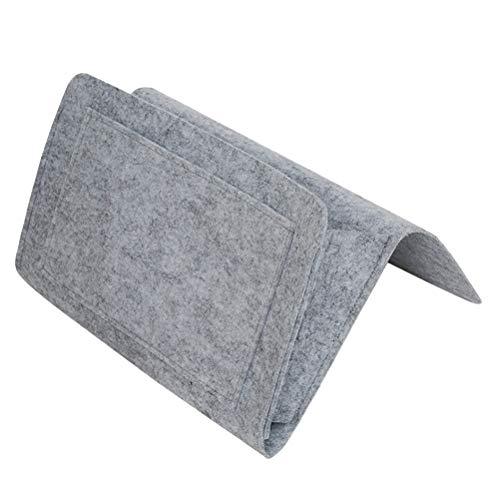 OUNONA Bedside Pouch Magazine Fernbedienung Kleine Artikel Halter hängen Aufbewahrungstasche (grau) (Nachttisch Caddy Veranstalter)