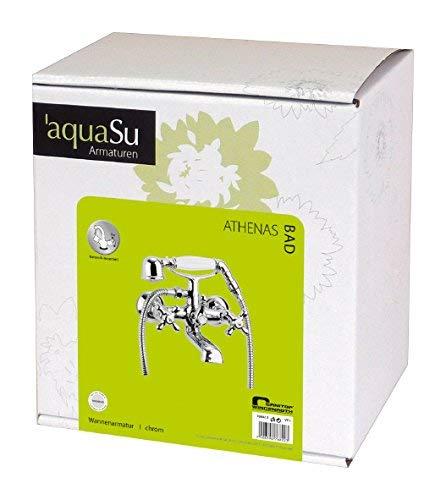 AquaSu – Badewannenarmatur, Zweigriffmischer Athenas inklusive Brausegarnitur, Chrom - 8
