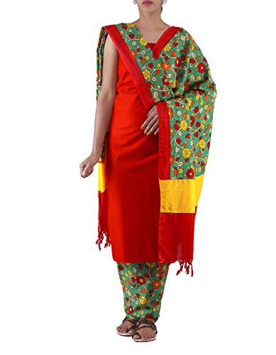 Unnati Silks Women Unstitched Red-Green Pure Khadhi Kalamkari Cotton Salwar Kameez