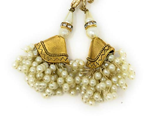 Inhika Set of 2 Latkan Hanging for Blouse Lehenga and Saree, Fancy Designer Decorative Ethnic Tassle Design of Bunch of Pearl with Gold in Colour Pearl, Gold