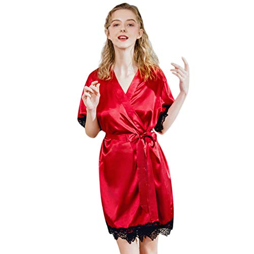 BIBOKAOKE Lange Robe der Frauen Sexy Spitzen-Patchwork Einteiler Pyjama Bademäntel für Damen Lange Ärmel Schlafanzüge Jumpsuit Bademantel Nachtwäsche -