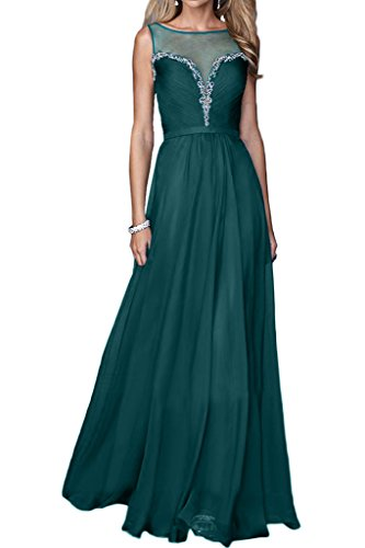 La_mia Braut Ziemlich Chiffon Durchsichtig Pailletten Abendkleider Ballkleider Partykleider Bodenlang A-linie Neu Dunkel Gruen