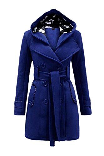 La Femme Est Le Revers Croisé Digne Slim Lhiver Veste Manteau Avec Ceinture blue