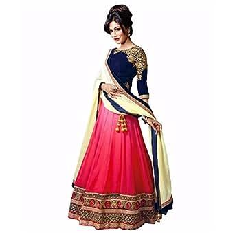 vibhu darshan enterprise Women's Georgette Lehanga Choli (CEL-19 _Pink_ Free Size)