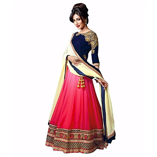 Purva Art Womens Royal Pink & Blue Embroidery Work Georgette Semi -...