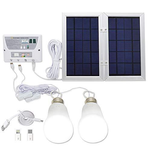 YINGHAO Mobiles Solar-Beleuchtungssystem für Ihr Zuhause, Gleichstrom, 3,7 V Lithium Akku, 6 W, faltbares Paneel, Solar-System-Bausatz - inklusive 3 Handy-Ladegeräten und 2 LED-Lampen