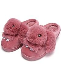 Rojeam Lindo conejo de mujer zapatillas de felpa invierno cálido zapatillas antideslizantes
