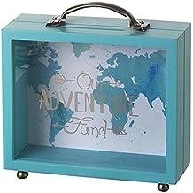 "Heaven Sends–Hucha en forma de maleta, madera verde azulada, diseño con texto en inglés ""Our Adventure Fund"""