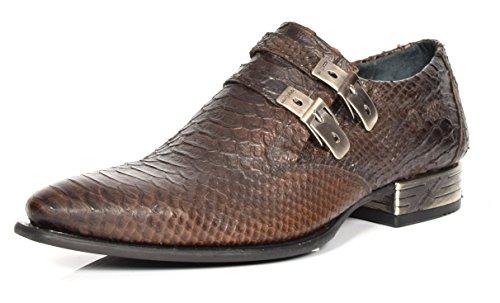 New Rock Herren Smart Formelle Loafers Branun Schlange Drucken Echtes Leder überstreifen Schuhe (EU 44) (Stiefel Echte Schlange)