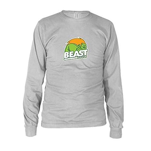 Beast Power - Herren Langarm T-Shirt, Größe: XL, Farbe: weiß